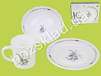 """Набор детской керамической посуды """"Зайчик"""" в яркой подарочной упаковке (3 предмета)"""