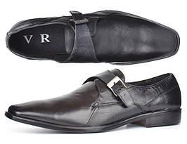 Мужские кожаные туфли классические черные Zapaterias VR, Черный, 45
