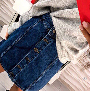 Женская джинсовая юбка на пуговицах , фото 2