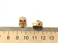Бусина череп с фианитами цвет лимонное золото (гиппоаллергенный сплав)