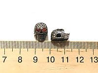 Бусина череп с фианитами цвет черный (гиппоаллергенный сплав)