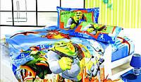 """Детский комплект постельного белья ELWAY 3D Сатин """"Шрек"""" Полуторный"""
