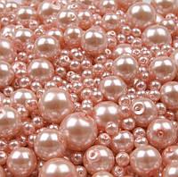 Бусины стеклянные под жемчуг розовый (50гр), фото 1