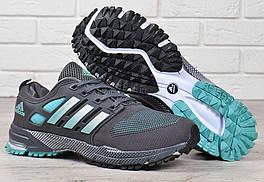 Кроссовки мужские Adidas Marathon tr 21 текстильные серые с зеленым, Зеленый, 42