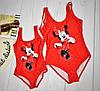 Набор Family look Купальник красный мама и дочка Микки (цена за комплект, можно по отдельности)