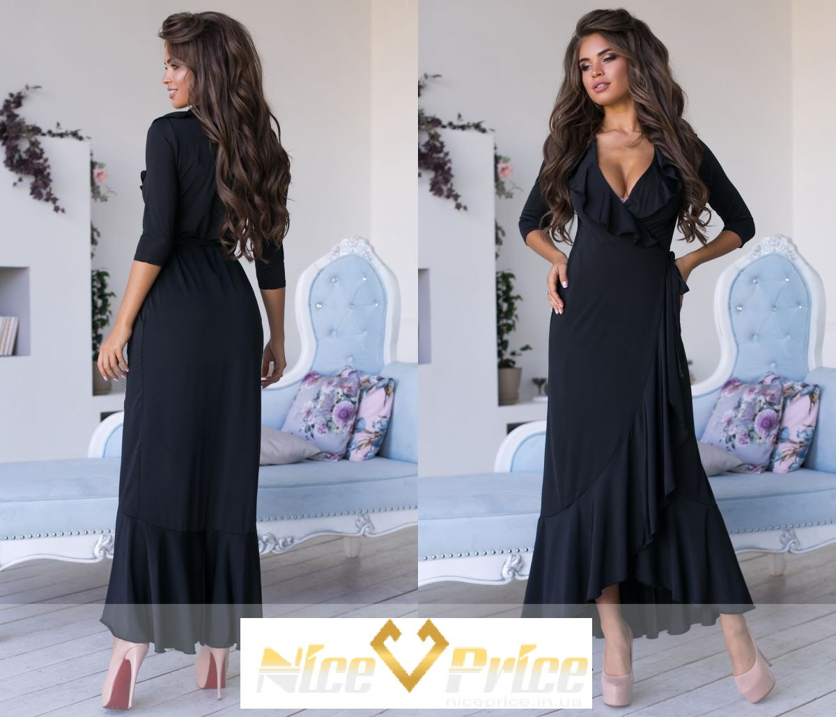 Эффектное платье с оборкой, однотонное 42-44,44-46