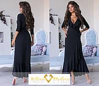 Эффектное платье с оборкой, однотонное 42-44,44-46, фото 1