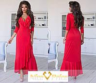 Эффектное платье с оборкой,красного цвета 42-44,44-46, фото 1