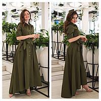 Летнее коттоновое платье-рубашка,длинное 42,44,46,48