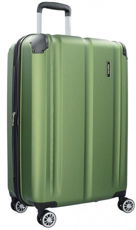 Большой пластиковый чемодан Travelite City TL073048-80 78 л, зеленый