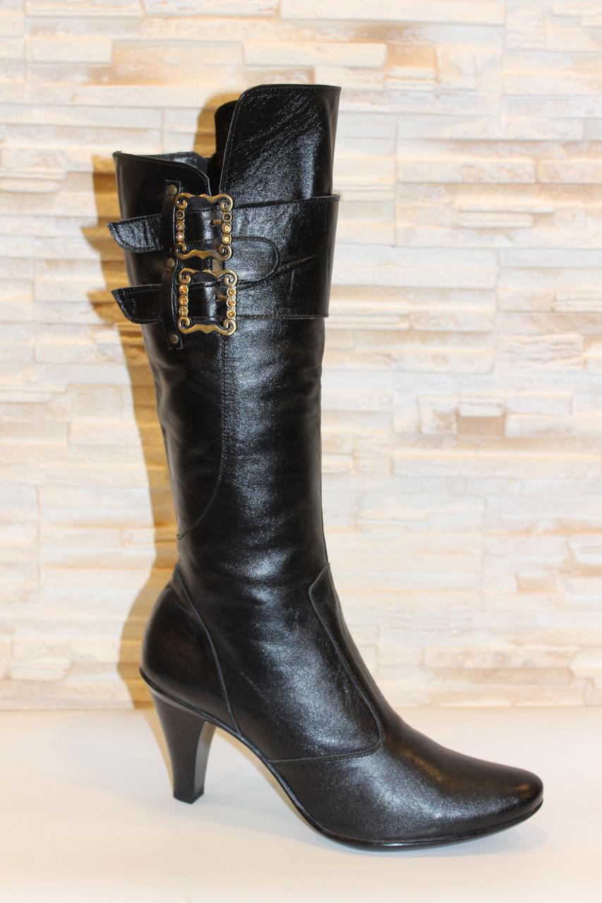 Сапоги женские черные на каблуке натуральная кожа Д38