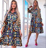 df1a46e56eb Яркое принтованное летнее платье - рубашка 22032582
