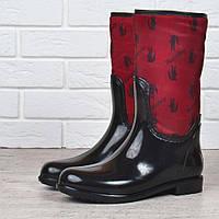 42817c319 Резиновые сапоги женские высокие Lacoste style на молнии черные с красным,  Красный, 36