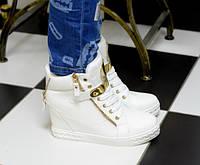 Ботиночки сникерсы белые Д368