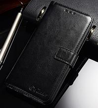 Кожаный чехол-книжка для Huawei P20 Lite черный