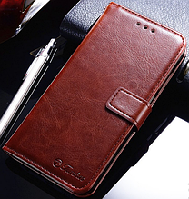 Кожаный чехол-книжка для Huawei P20 Lite коричневый