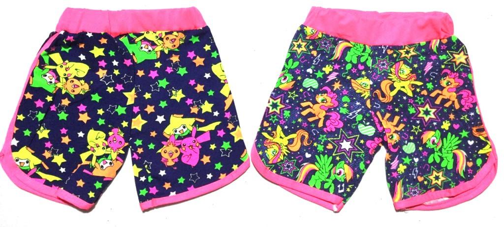 """Детские шорты для девочки на 5-8 лет """"Покемон и Пони"""""""