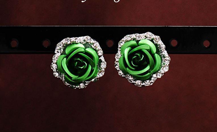 Серьги Цветок зеленый код 758