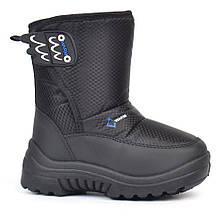 Дутики детские сноубутсы Warm Waterproof зимние черные на липучке, Черный, 28