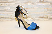 Туфли летние синие с черным на каблуке Б572