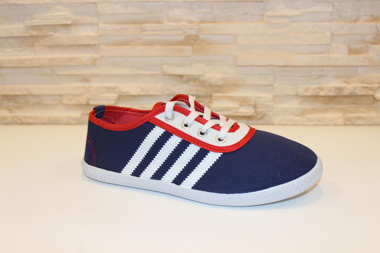 Мокасины синие с красным на шнурках Т542
