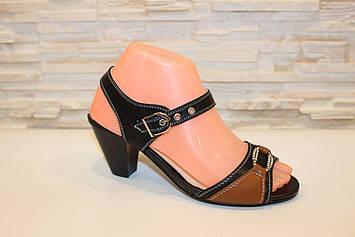 Босоножки женские на каблуке черные с коричневым Б579
