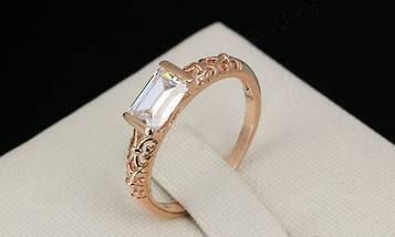 Кільце позолочене жіноче з білим кристалом код 936