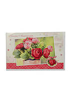 """Открытка поздравительная """"Розы"""" Nockaert 17х11,5см Белый, Красный, Зеленый"""