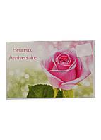 """Открытка поздравительная """"Розовая роза"""" Nockaert 12х17,5см Разноцветный"""