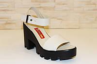 Босоножки бежевые женские на каблуке натуральная кожа Б700