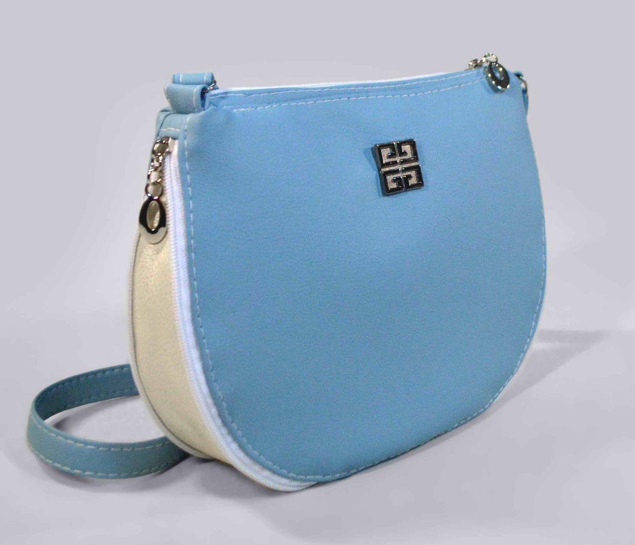 Наплечная женская голубая сумка код 9-26