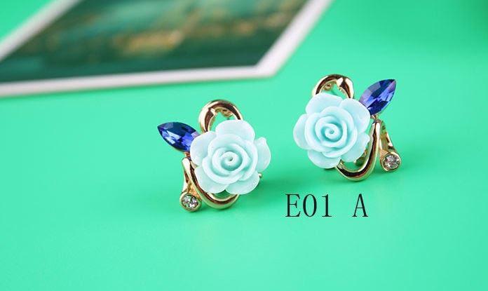 Сережки Квітка блакитна код 810
