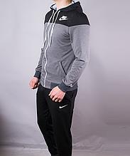 Спортивный костюм мужской Nike черный с серым на молнии с капюшоном, Черный, M