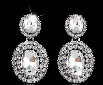 Серьги с белыми кристаллами код 257