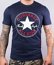 Футболка мужская хлопковая Converse темно-синяя, Синий, M