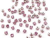 Стразы пришивные конусные розовые 10 шт.
