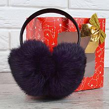 Наушники меховые кожаный ободок натуральный мех темно-фиолетовые Пурпур, Фиолетовый