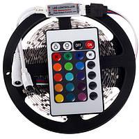 Светодиодная лента (в силиконе) RGB 3528 5 метров+пульт+контроллер+блок питания, LED лента многоцветная, Акция