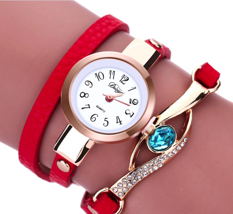 Наручные женские часы с красным ремешком код 208
