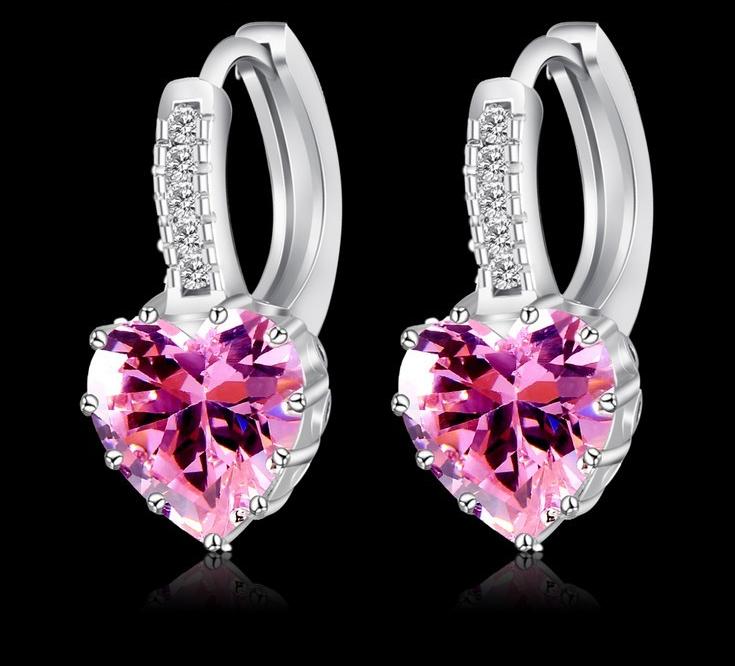 Серьги с розовым камнем в форме сердца код 735