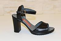 Босоножки женские черные на каблуке натуральная кожа Б796