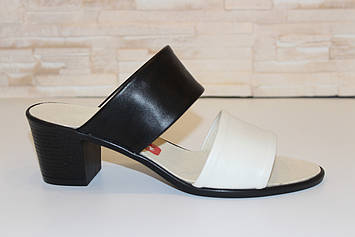 Шлепанцы женские на каблуке натуральная кожа Б827