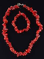 Комплект Коралл бусы и браслет код 1196