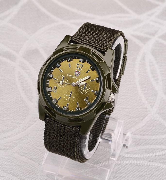 Мужские наручные часы с зеленым ремешком код 199