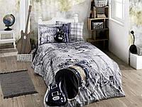 Комплект постельного белья 160х220 HOBBY Poplin Rock Music серый с гитарой 41070_1,5