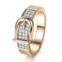 Позолоченное кольцо женское с фианитами код 1319