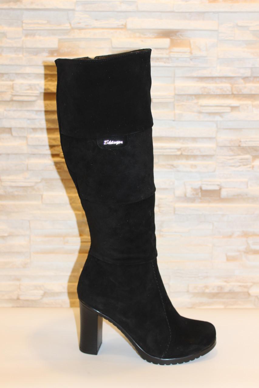 Сапоги женские зимние черные натуральная замша на каблуке С659