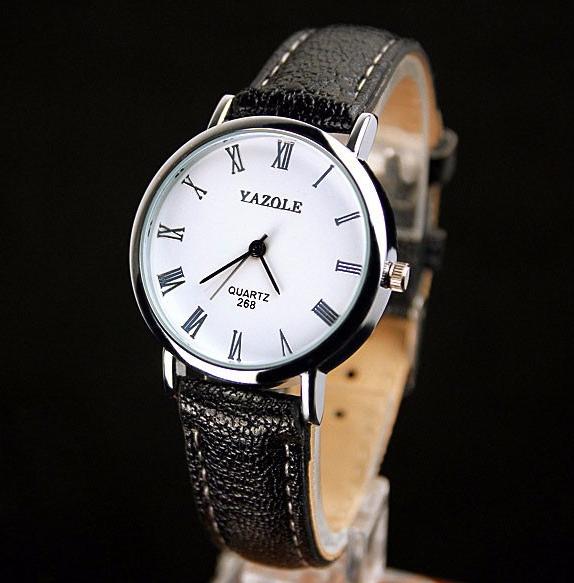 Стильные часы женские с черным ремешком код 355