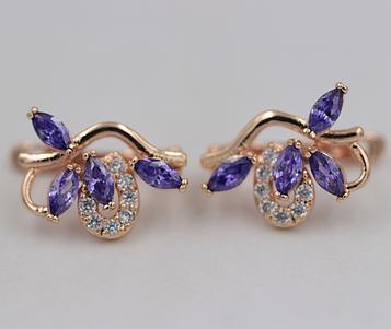 Позолоченные серьги с фиолетовыми цирконами код 1359