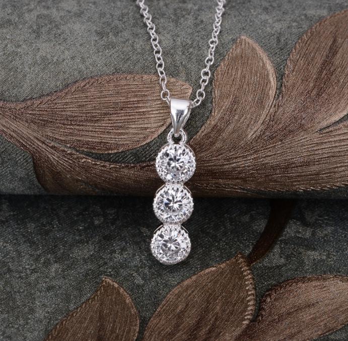 Ланцюжок з кулоном покриття срібло код 1373